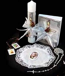 Spanish Handmade First Holy Communion Set for Girl Holy Cross - Candle, Bible, Illustrated Purse, Laminated Scapular,and Rosary Religious Gift 5PCS