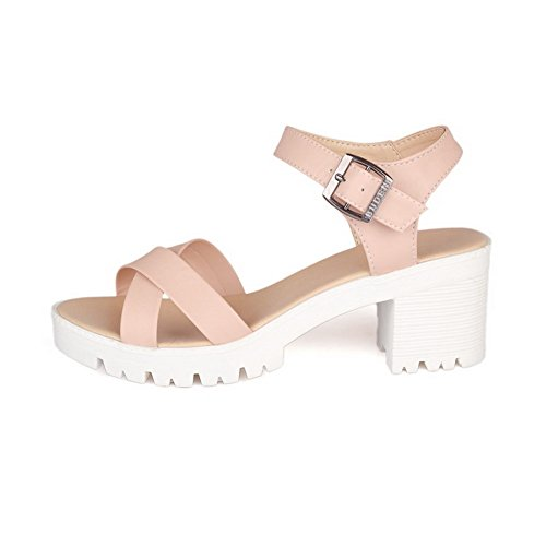 Toe Platforms Open Buckle Sandals Solid Pink Womens AmoonyFashion Heels Kitten WOwXYZ6q0