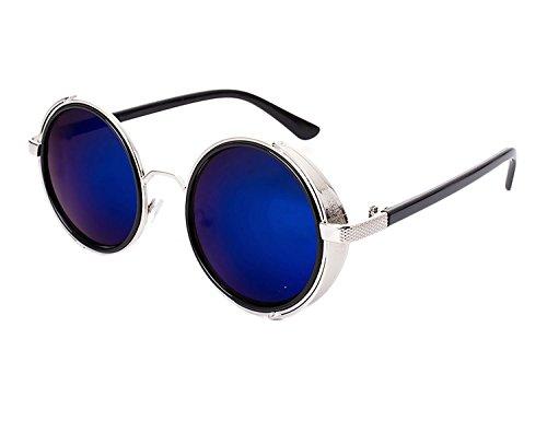 Femme métal de UV400 B1 Steampunk Armature Bleu Bmeigo Lunettes soleil Lunettes Classique Retro Rondes en Homme stylées twTpz6S5q