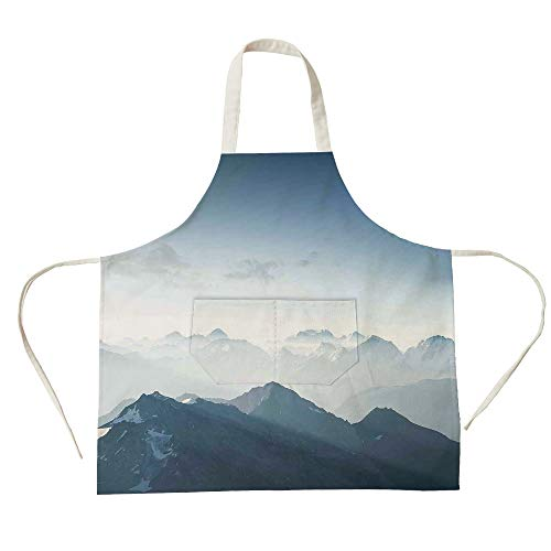 3D Printed Cotton Linen Big Pocket Apron,Farmhouse Decor,Fog Morning in Rock Mountain Region in Northern Hiking Climbing Ice Photo,Soft Blue,for Cooking Baking Gardening
