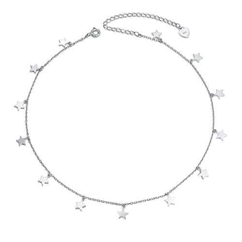 Sterling Silver Jewelry Lucky Star Choker Necklace Pendant Disc Chain Statement Necklace For Women ()