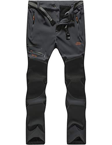 DFENGEA Men's Hiking Pants Outdoor Softshell Fleece Warm Waterproof Windproof Mountain Snow Ski Pants,CFK1682M-Grey-L (Best All Mountain Snow Skis)