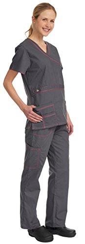 Denice Women's Scrub Sets/Utility Trim/Multiple Pockets/Medical Scrubs 1056 (Small, - Perks Sun Plus