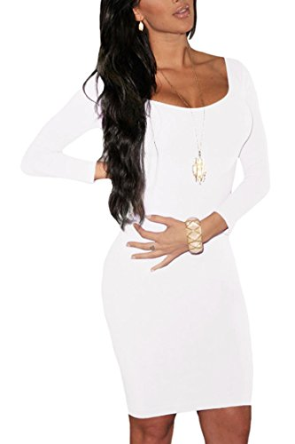 LaSuiveur Womens Long Sleeves Crewneck Bodycon Bandage Midi Evening Dresses, White, Small