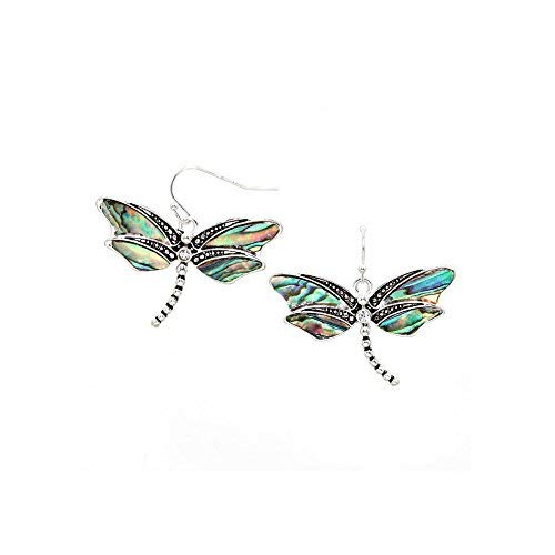Sunnity Antiqued Silver Dragonfly Drop Earrings with Abalone Inlay and Crystal Detail,One Size