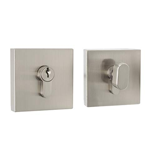 Probrico Single Cylinder Deadbolt Combo Pack, Keyed Alike Door Locks Interior and Exterior, Anti-Theft Square Hardware Brushed Nickel
