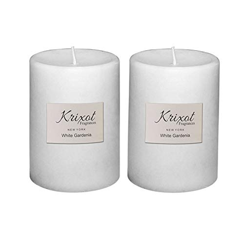 KRIXOT Scented Pillar Candles Set of 2 Fragrances | White Gardenia in Mottled Finish Size 3 X 4 | Premium Fragrance Oil | Finest Wax Blend | 100% Cotton Wicks