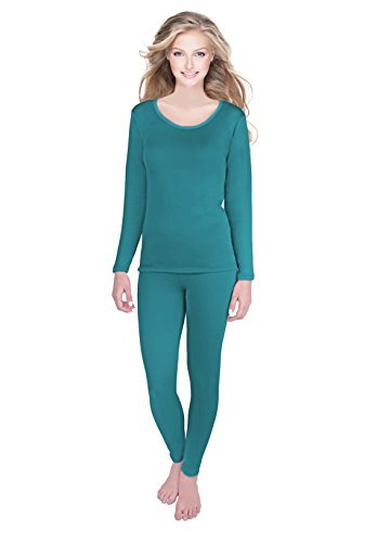 Edge Long Sleeve Thermal Shirt (Rocky Womens Thermal 2 Pc Long John Underwear Set Fleece Lined Top and Bottom (Small, Teal- Fleece Lined))