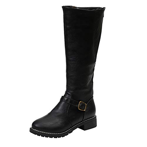 Cenglings Plus Size Vintage Women Mid-Calf Knight Roundt Toe Zipper Slip On Low Chunky Heel Boots Buckle Motorcycle Shoes