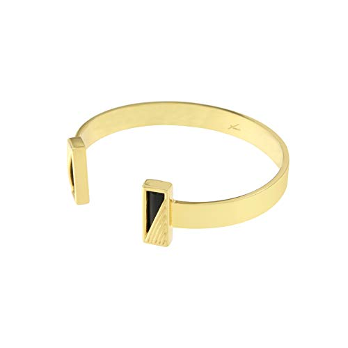 yuwei 24k Gold Plated Double Rectangle Reverse Cuff Black Onyx