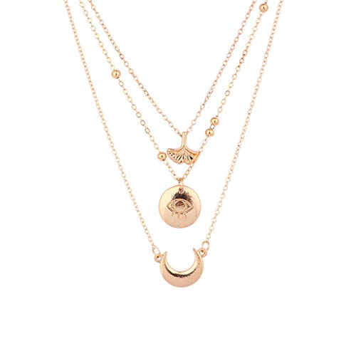 Creative Layered Pendant Necklace 3 Pcs,Haluoo Women Trendy Gold Plated Mushroom Choker Stylish Carved Devil's Eye Clavicular Chain Dainty Gold Plated Crescent Moon Pendant Long Sweater Chain (Gold)