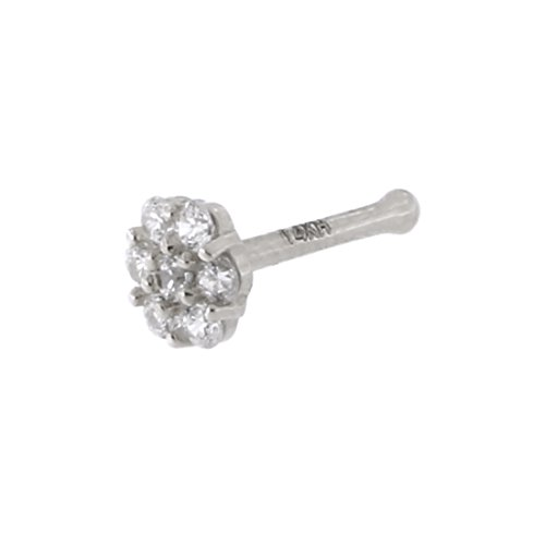 14k White Gold Clear Cubic Zirconia 4mm Flower Cluster Nose Stud Ring 20 Gauge ()