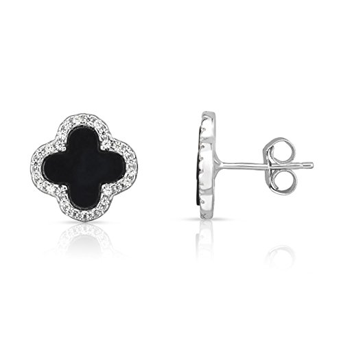 4 Leaf Clover Post Earrings - Sterling Silver Black Onyx And Cubic Zirconia Four Leaf Clover Post Earrings. (Natural Silver)