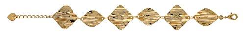 So Chic Bijoux © Bracelet Femme Longueur Réglable: 17 à 20 cm Maillons 6 Pièces Plissées Froissées Plaqué Or 750