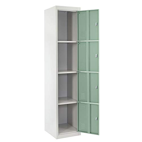 Newgreenca - Armadio a 4 Ante in Acciaio Inox Bad Dorm Room Locker Closet