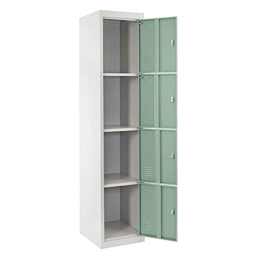 Newgreenca - Armadio a 4 Ante in Acciaio Inox Bad Dorm Room Locker Closet