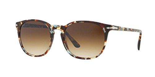 Persol  Men's 0PO3007S Havana/Azure/Brown/Clear Gradient Brown - Sunglasses Persol Keyhole