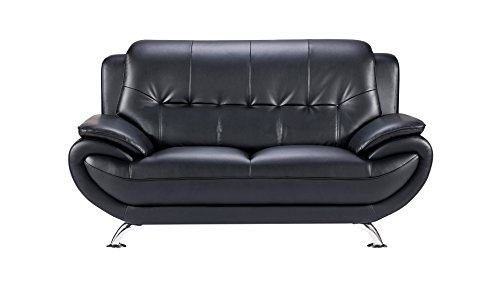 - American Eagle Furniture Highland Bonded Leather Living Room Loveseat with Pillow Top Armrests, Black