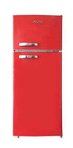 RCA RFR786-RED 2 Door Apartment Size Refrigerator with Freezer, 7.2 cu. ft, Retro Red, 7.5