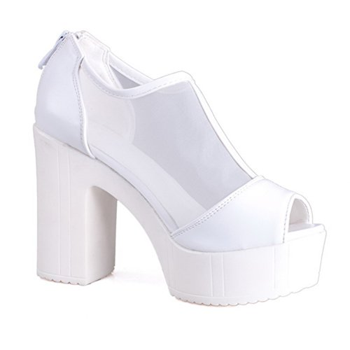 VogueZone009 Womens Open Peep Toe High Heel Platform Chunky Heels PU Soft Material Solid Sandals with Zipper, White, 5.5 UK