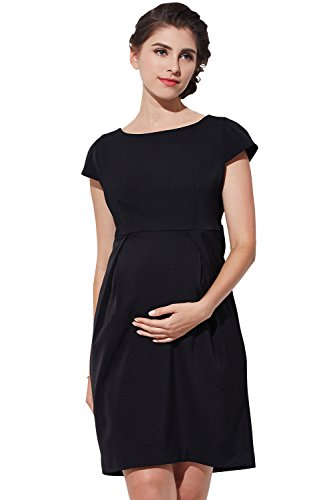 Sweet Mommy Maternity and Nursing Back Bow Ruffle Dress Black, M by Sweet Mommy