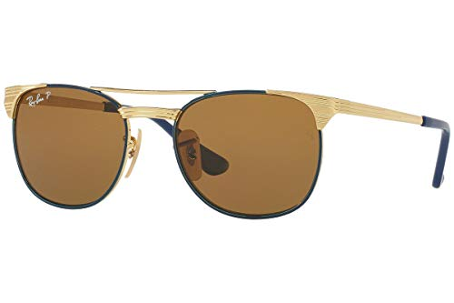 (Ray-Ban Kids' Metal Unisex Sunglass Polarized Square, Gold TOP Blue, 49 mm)