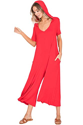 Annabelle Women's Knit Jumpsuit Featuring Palazzo Pants with Hood Poppy Red Small ()
