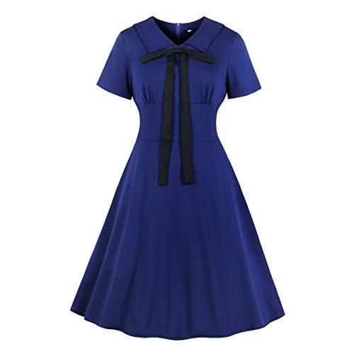 (Wellwits Women's Front Bow Tie Shirt Collar 1940s Vintage Navy Sailor Dress L)