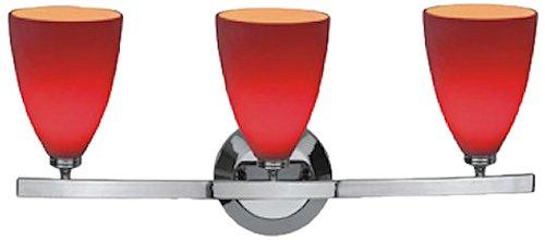 Sydney - 3-Light Mania Glass Vanity - Matte Chrome Finish - Red Glass (Sydney Vanity Wall Fixture)