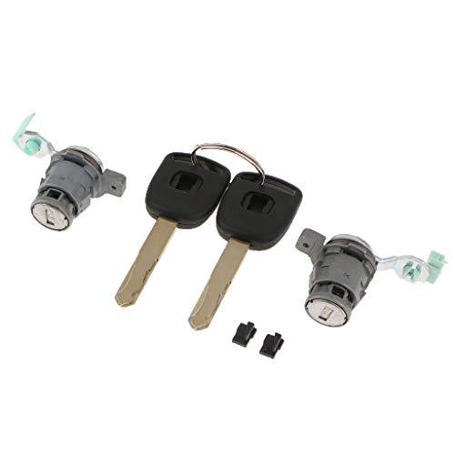MagiDeal 2Pcs Ignition Cylinder Door Lock Core 2 Keys Parts Honda CR-V 03-06