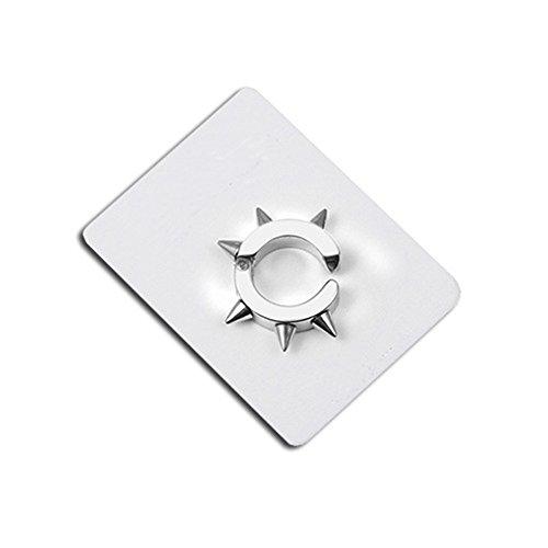 ainless Steel Clip On Earrings Hoop Spike Punk Earring Huggie Non-Piercing (Silver) ()