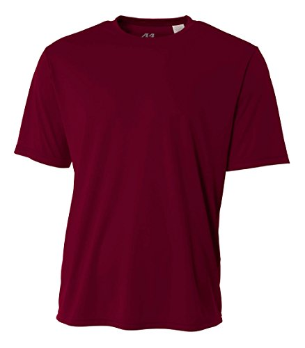 A4 Men's Cooling Performance Crew Short Sleeve T-Shirt, Maroon, Large