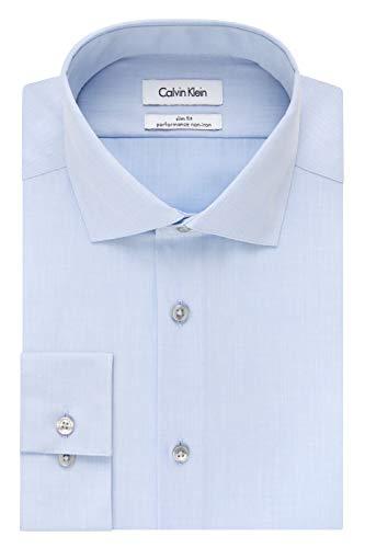 Calvin Klein Men's Non Iron Slim Fit Herringbone Spread Collar Dress Shirt, Blue, 15