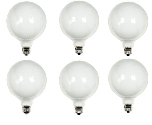 GE Lighting 49781 100-Watt G40 Bulb, 5-Inch Diameter, Soft White, 6 Pack