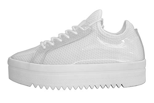 LUCKY-STEP Women's Platform Sneakers - Lace Up Casual Chunky Shoes Glassy Leather Sneaker - Sports Wear (10 B(M) US, White)