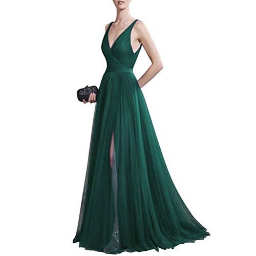 Damen Burgund AusschnittRueckenfrei V Abendkleid Kleid für Elegante Rot Lang 674n0