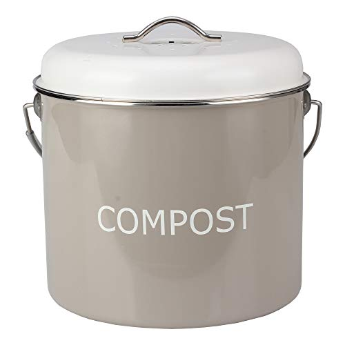 COMPOST BIN COUNTERTOP - 0.8 gallon/3 liter- Compost Bucket for Kitchen with Lid and 4 Charcoal filters in Vintage Look by HeAndy