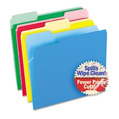 Pendaflex 48434 - CutLess/WaterShed File Folders, 1/3 Cut Top Tab, Letter, Assorted, -