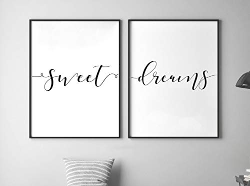 Sweet Print Dreams (Sweet Dreams, UNFRAMED, 24 x 36 Inch print, Minimalist Art, Typography Art, Yoga Wall Art, Relaxation Gifts, Home Wall Art, Poster)