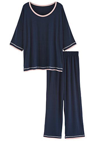Women's 3/4 Sleeve Scoop Neck Bamboo Pajamas Set