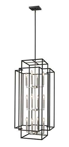 Z-Lite 454-42BK-BN Titania - Twelve Light 3-Tier Pendant, Black/Brushed Nickel (3 Tier 12 Light Pendant)