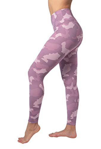 Yogalicious High Waist Nude Tech V-Back Camo Printed Ankle Leggings - Purple Luster Camo - Small
