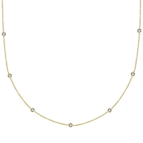 Ritastephens Sterling Silver Gold Tone Cubic Zirconia CZ by The Yard Station Necklace (20 Inches)