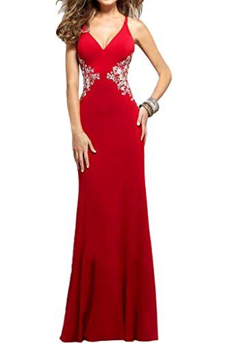 V abito scollo Applikation Donna ressing Festa a sera Party vestito Rot ivyd abito Prom Traeger Elegante schnuerung qORwXfTyT