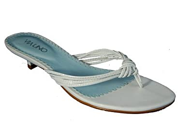 Via Uno ladies soft leather thong toe post sandal with kitten heel ...