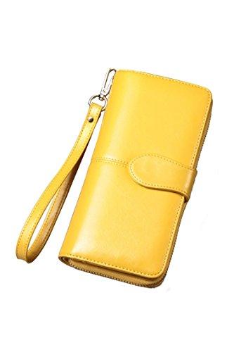 Women's Blocking Leather Wallet Large Capacity Wristlet Handbag Clutch Yellow by Deerludie & T