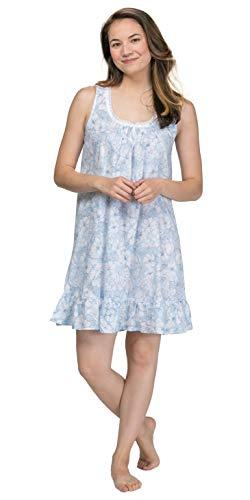 Miss Elaine Cotton Woven Floral Short Gown (224719) L/Navy Etched Floral