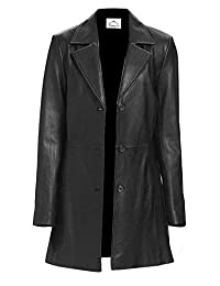 VearFit Long Trunq Black Faux Leather Coat Blazar For Womne - Tailor Made