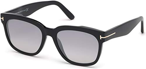 (Tom Ford FT0714 01C Shiny Black Rhett Square Sunglasses Lens Category 2 Lens Mi)