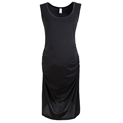 Gritu Women's Sleeveless Side Shirring Waist Maxi Midi Maternity Dress Black X-Large